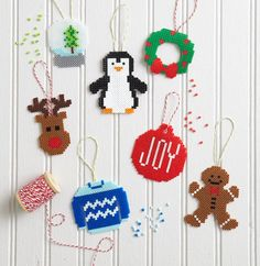 Holiday Projects with Perler Beads Pony Bead Patterns, Beading Patterns, Hama Beads Design, Pearler Beads, Pony Beads, Xmas Ornaments, Christmas Inspiration, Holiday Crafts, Crafts For Kids