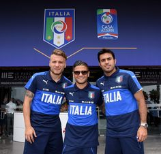 (L--R) Ciro Immobile, Lorenzo Insigne and Eder of Italy pose for a photo at the end of the press conference at Casa Azzurri on June 10, 2016 in Montpellier, France.