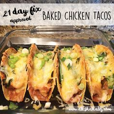 Baked Chicken Tacos // 21 Day Fix Approved #21dayfix #tacos