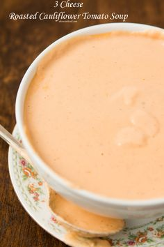 """According to the husband this 3 cheese roasted cauliflower tomato soup is """"the best soup ever!"""" And I have to agree. It's so creamy! Low Carb Recipes, Cooking Recipes, Healthy Recipes, Tomato Soup Recipes, Gumbo Recipes, Roasted Cauliflower, Cauliflower Chowder, Roasted Garlic, Pasta"""