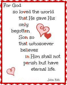 Valentine Printable: For God So Loved the World