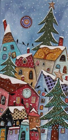 One O'Clock cats birds houses Karla Gerard Christmas Paintings, Christmas Art, Art And Illustration, Karla Gerard, Art Fantaisiste, Theme Noel, Primitive Folk Art, Arte Popular, Naive Art