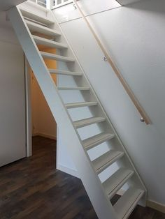 Small Space Staircase, Space Saving Staircase, Hallway Decorating, Interior Decorating, Contemporary Cabin, Chevron Floor, Loft Stairs, Painted Stairs, Attic Rooms
