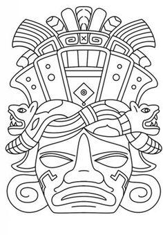 Mayan Mask coloring page from Mayan art category. Free Printable Coloring Pages, Free Coloring Pages, Coloring Books, Coloring Sheets, Aztecs For Kids, Maya Art, Mayan Mask, Aztec Mask, Motifs Aztèques