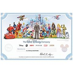 The Walt Disney Company Collectible Shareholder Certificate - 1363898