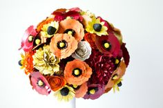 Garden Bridal Bouquet - made with poppies, roses, alliums, hydrangeas, peonies, and coneflowers…all colors customized for you ....and all from books! AnthologyOnMain.etsy.com