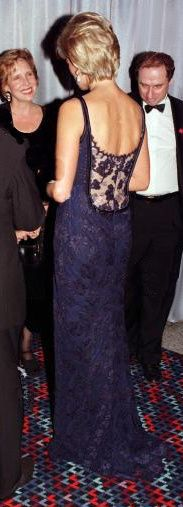 The back of the gown that Diana wore to the film premiere of 'In Love and War' in February 1997.