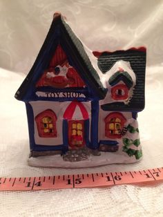 """Christmas Village Toy Shop 3 1/2"""" Wide By 4"""" Tall Ceramic"""