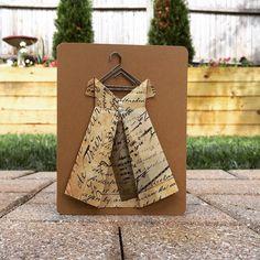 Vintage Dress Card, Origami Blank Card, Bridal Shower Card, Rustic Thank You Card