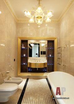 Фото интерьера ванной квартиры в стиле ар-деко