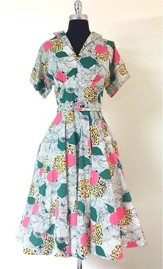 Vintage 1950s Abstract Cotton Fit And Flare Dress by pinkpoppyvintage on Etsy