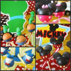 Mickey & Disney Friends Cake Pops - note the link doesn't give you directions, but I can tell the ears are made from unmelted Wilton Candy Melts.all out disney party Mickey Mouse Clubhouse Birthday, Mickey Mouse Parties, Mickey Party, Mickey Mouse Birthday, Disney Cake Pops, Disney Cakes, Minnie Cake, Friends Cake, Mickey And Friends