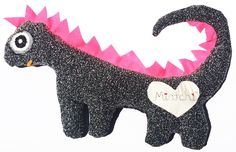 Dino - Black/Pink (Baby & Child)- Dino is an exclusive addition to the Mintchi family. For unique and limited edition gifts visit the littledistinctions for great gifts for new borns, christenings and kids rooms. #kids #baby. #dinosaur. #ecogifts. #gimme. #toys. #snuggle. #limitededition #australiandesigns #nursery #kidsrooms. #children. #homewears.