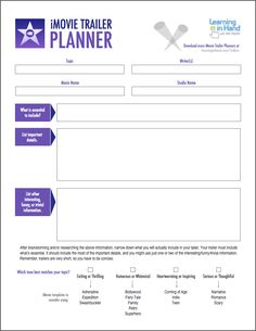 planning frame for report writing Plan a Better iMovie Trailer with These PDFs — Learning in Hand The Plan, How To Plan, Wattpad Book Covers, Wattpad Books, Technology Tools, Educational Technology, Technology Integration, Digital Storytelling, Book Trailers