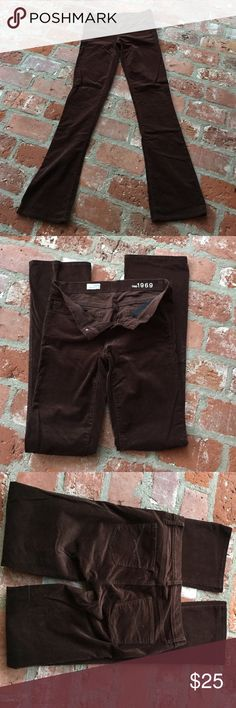 Gap skinny bootcut brown corduroys Super soft and long skinny boot cut pants. 98% cotton and 2% spandex. Corduroy that almost looks like velvet. Waist measures 32 inches. Rise measures 8 inches. Inseam measures 37 inches. GAP Jeans Boot Cut