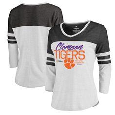 Clemson Tigers Fanatics Branded Women's College Football Playoff 2016 National Champions Field Goal Tri-Blend V-Neck Raglan Sleeve T-Shirt - White