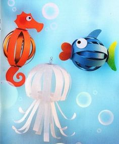 Paper Spheres: Experimentation with Decoration [Crafts using paper balls (that are) made from paper strips Kids Crafts, Sea Crafts, Summer Crafts, Preschool Crafts, Arts And Crafts, Paper Crafts, Paper Balls, Animal Crafts, Art Activities