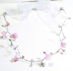 May Flowers Necklace Pink and White Pearls and Swarovski Crystals