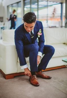 Navy Blue Suit + Solid Silk Tie