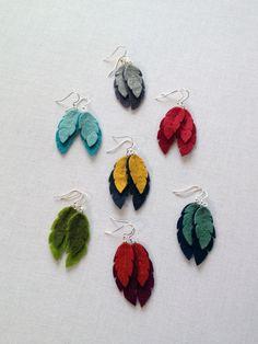 scientific culture-Felt Feather Earrings