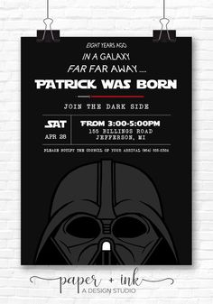 Star Wars - Darth Vadar, Storm Trooper, Chewbacca, Yoda Birthday Invitation