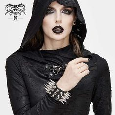 """Brand:DEVIL FASHION Material:SYNTHETIC LEATHER Weight:0.015KG Size:One size(Circumference:15-18CM/5.9""""-7.1"""") Sku:AS079 Studded Leather, Leather Material, Women's Accessories, Shop Now, Vintage Fashion, Punk, Gothic, Bracelets, Spikes"""