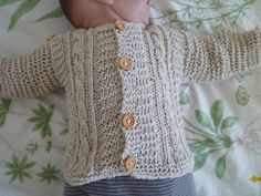 Organic cotton knit baby sweater unisex baby cardigan by KnitDjin