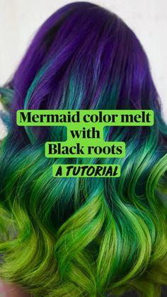 Blue Black Hair Color, Vivid Hair Color, Bright Hair Colors, Beautiful Hair Color, Cool Hair Color, Green Hair, Purple Hair, Colorful Hair, Peekaboo Hair