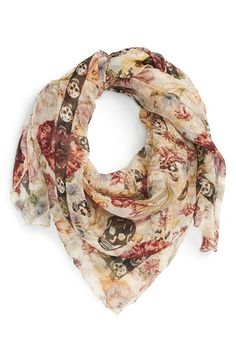 Alexander McQueen 'Medieval Flower & Skull' Textured Silk Scarf