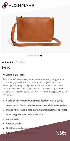 Madewell Simple Crossbody Bag Brand new in packaging. Perfect crossbody bag to take with you anywhere. English Saddle color. No trades. Madewell Bags Crossbody Bags