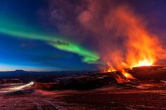 Eyjafjallajokull volcano Iceland and     Aurora Borealis  Liked · about an hour ago     Wonders Of Nature - Revisited  Photo By: Kristinn R. Kristinsson    http://www.flickr.com/photos/kristinnr/
