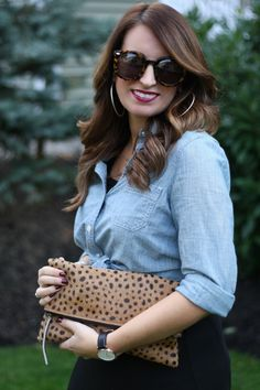 Leopard Clutch, Chambray Top