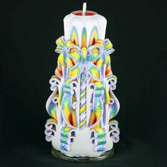 Carved+Candle++Colorful+Candle++Handmade+by+NewYorkCandleFactory,+$34.95