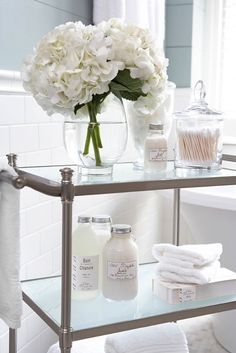 We love this #pamper station for the bathroom #simple #spa - Heritage Bathrooms