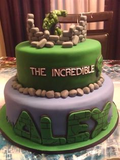 the incredible hulk cake, I'm not great with fondant, so maybe a smooth buttercream layer in those colors and then the words and stones in fondant. :D