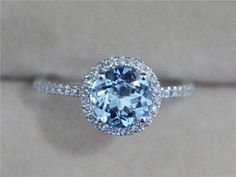 Super beauty! Diamond blue and white gold 18 k engagement ring. Like crystal water!! SLVH ❤❤❤