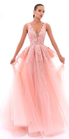Glamorous Tulle V-neck Neckline A-line Prom Dress With Lace Appliques & Handmade Flowers With Beadings
