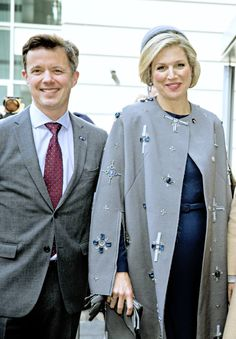 """King Willem-Alexander and Queen Máxima visited Aalborg University in company of the Crown Prince and the Crown Princess. There, they participated of the seminar """"Sustainability of the Quality of Our Societies"""", 17 March 2015"""