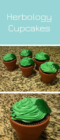 """Throwing a Harry Potter themed party for your child? Make these adorable """"Herbology Class"""" cupcakes. You can even add gummy worms under the cupcake!"""