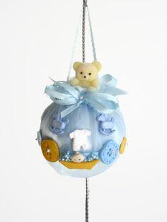 Baby's First Christmas Ornament, Baby Boy Shower Gift, Baby Boy Nursery Decor, Blue Ornament,  Baby Charms, Nursery Decor Boy, Teddy Bear