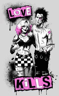 Sid and Nancy by Marcus Jones Vicious Sex Pistols Canvas Art Print – moodswingsonthenet