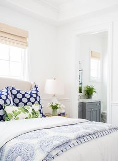 cottage bedroom decor, blue and white bedroom decor with blue throw pillows upholstered bed and white walls in modern coastal master bedroom decor Farmhouse Bedroom Decor, Cozy Bedroom, Dream Bedroom, Bedroom Ideas, Bedroom Designs, Blue Bedroom, Modern Bedroom, Bedroom Beach, Stylish Bedroom