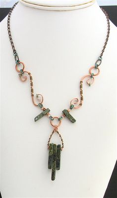 Green Copper Wire Wrapped Necklace Antiqued by lonerockjewelry, $42.00