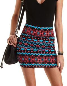 Black Multi Tribal Print Bodycon Mini Skirt by Charlotte Russe