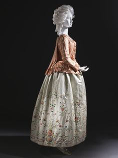 Woman's Jacket (caraco) (multiple views ) LACMA Europe, c 1760, altered c1780  principal attire (upper body) Silk plain weave with supplementary warp patterning a) Jacket centre back length: 19 in. (48.26 cm)    Costume and Textiles