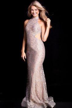 460b3749264 Jovani - 55015 High Halter Lace Fitted Cutout Prom Dress