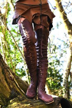 Over-The-Knee Laced Leather Boots