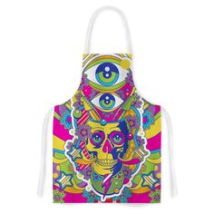 Kess InHouse Roberlan 'Skull' Rainbow Illustration Artistic Apron