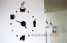 Free shipping Stylish coffee time DIY WALL STICKERS clock Funny Clock home decoration novelty items kitchen restaurant