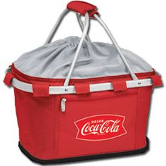Red Insulated Coca-Cola Metro Picnic Basket - not just for picnics!  Great for carrying food, groceries, and party fun!